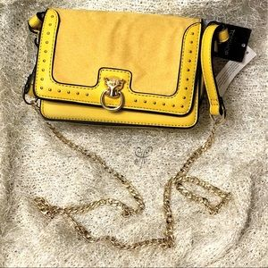 Yellow Clutches Purse w/ Gold Crossbody Chain